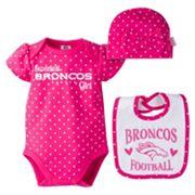 Baby Girl Denver Broncos 3 pc Bodysuit, Bib & Cap Set