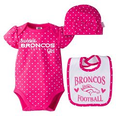 Baby Girl Denver Broncos 3 pc Bodysuit, Bib & Cap Set