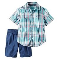 Toddler Boy Carter's Blue Plaid Button-Down Short Sleeve Shirt & Shorts Set