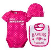 Baby Girl Baltimore Ravens 3 pc Bodysuit, Bib & Cap Set