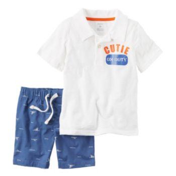 Toddler Boy Carter's Polo Shirt & Poplin Shorts Set
