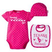 Baby Girl Houston Texans 3 pc Bodysuit, Bib & Cap Set