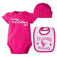 Baby Girl Houston Texans 3-Piece Bodysuit, Bib & Cap Set