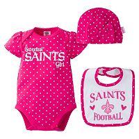 Baby Girl New Orleans Saints 3 pc Bodysuit, Bib & Cap Set