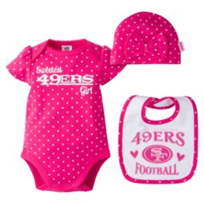 Baby Girl San Francisco 49ers 3-Piece Bodysuit, Bib & Cap Set