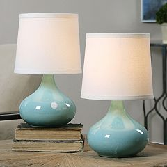 Gabbiano Crackled Porcelain Glaze Finish Table Lamp 2-piece Set