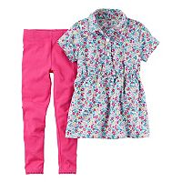 Toddler Girl Carter's Floral Printed Shirt Dress & Solid Leggings Set