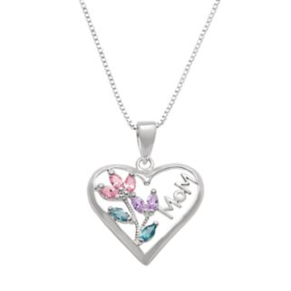 "Silver Plated Cubic Zirconia ""Mom"" Heart Pendant Necklace"