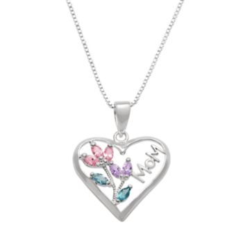 """Silver Plated Cubic Zirconia """"Mom"""" Heart Pendant Necklace"""