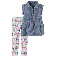 Toddler Girl Carter's Sleeveless Tab Chambray Top & Floral Leggings Set