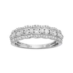 Simply Vera 14k White Gold 1 2 Carat T W Diamond Scalloped Wedding Ring