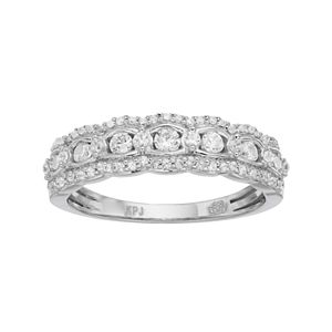 Simply Vera Vera Wang 14k White Gold 1/2 Carat T.W. Diamond Scalloped Wedding Ring