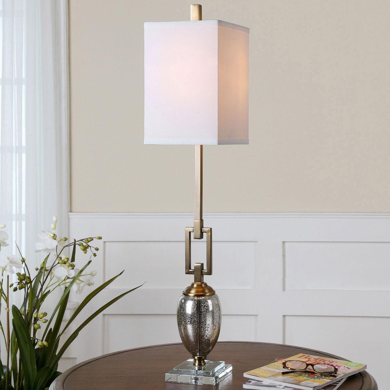 Merveilleux Copeland Speckled Mercury Glass Buffet Table Lamp