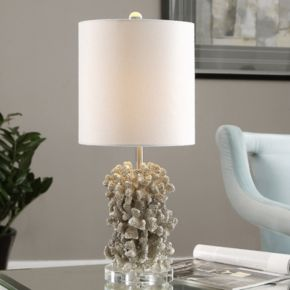 Silver Finish Faux Coral Sculpture Table Lamp