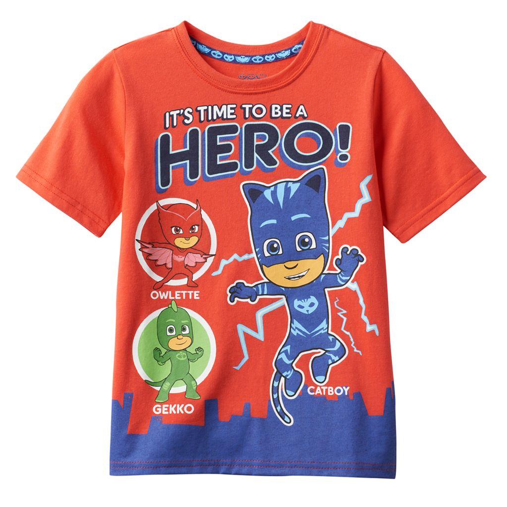Toddler Boy PJ Masks Gekko, Catboy & Owlette Graphic Hero Tee