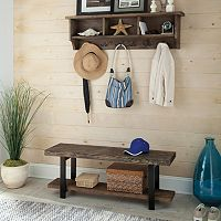Alaterre Pomona Wood Bench & Coat Hook Cubby Wall Shelf 2-piece Set