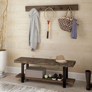 Alaterre Pomona Wood Bench & Coat Hook 2-piece Set