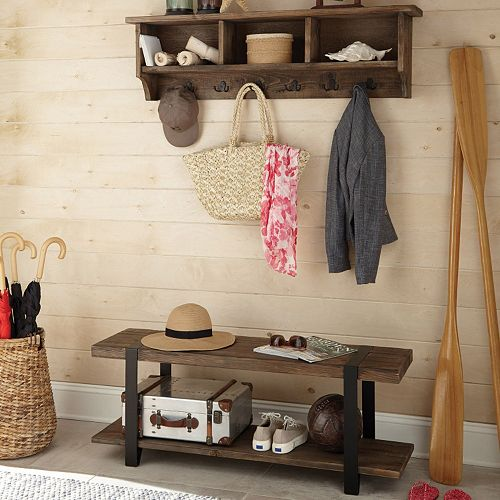 Alaterre Modesto Wood Bench & Coat Hook Cubby Wall Shelf 2-piece Set