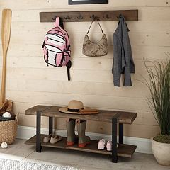 Alaterre Modesto Wood Bench & Coat Hook 2-piece Set