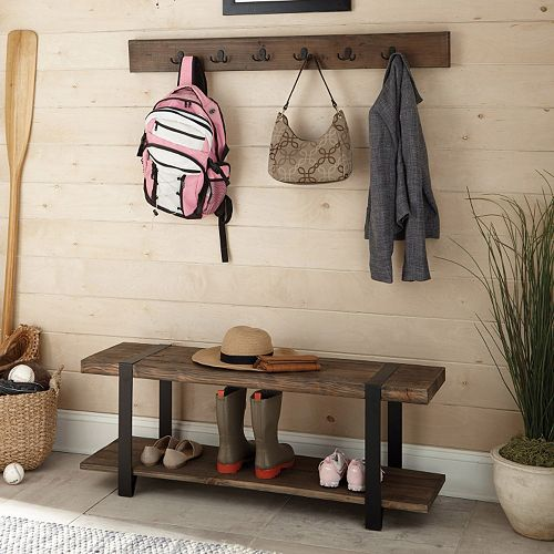 Alaterre Modesto Wood Bench & Coat Hook 2-piece Set