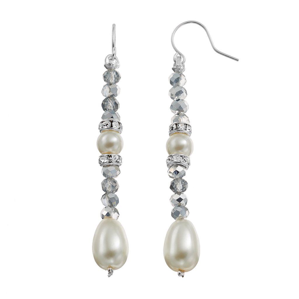 Beaded Simulated Pearl Nickel Free Linear Drop Earrings