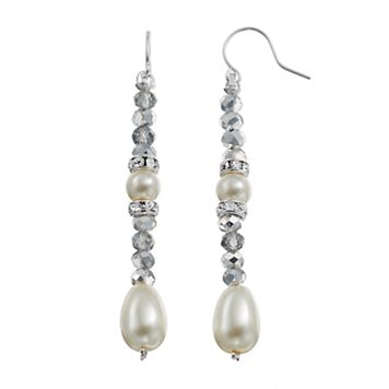 Beaded Simulated Pearl Nickel Free Linear Drop Earrings