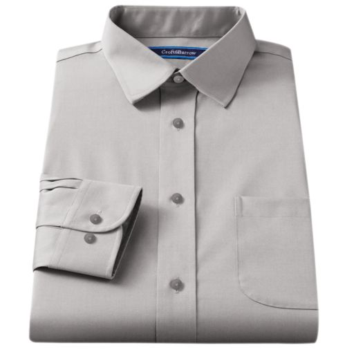 Men's Croft & Barrow® Fitted Solid Broadcloth Spread-Collar Dress Shirt