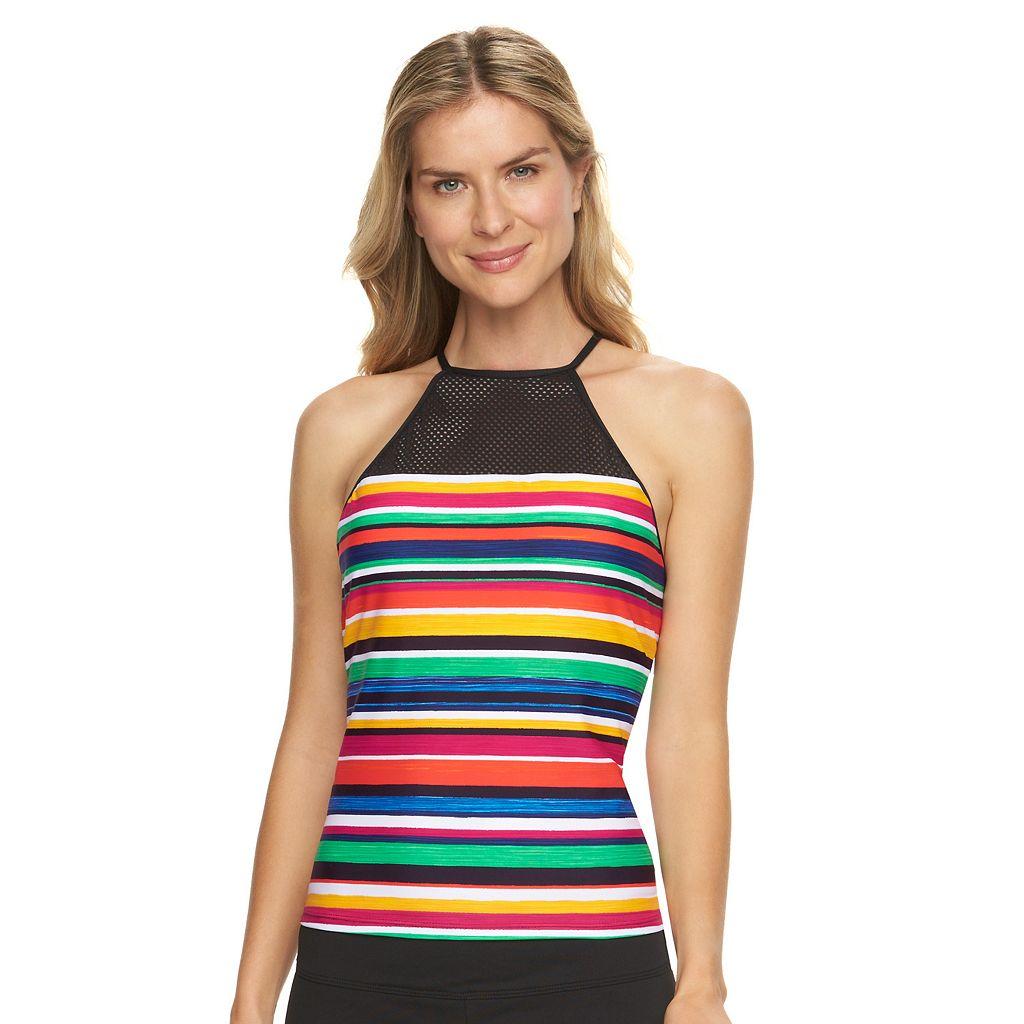 Women's Chaps Striped Mesh High-Neck Tankini Top