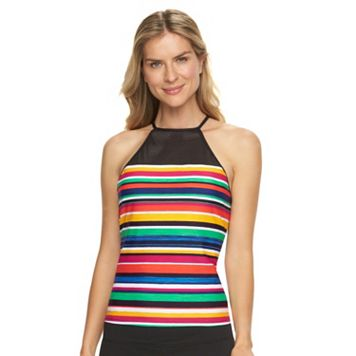 Women's Chaps Striped Mesh High-Neck Tankini Top