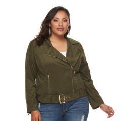 Plus Size Jennifer Lopez Faux-Suede Moto Jacket