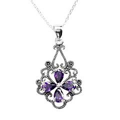 Sterling Silver Cubic Zirconia & Marcasite Flower Pendant