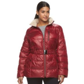 Plus Size Halitech Faux-Fur Trim Hooded Puffer Jacket
