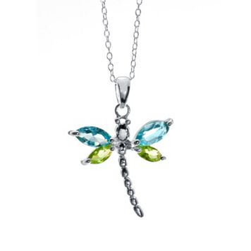 Sterling Silver Blue & Green Glass Dragonfly Pendant