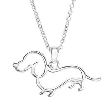 Silver Plated Dachshund Pendant Necklace