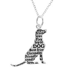 Silver Plated Dog Pendant Necklace