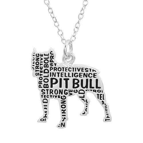 Silver Plated Pit Bull Pendant Necklace
