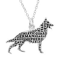Silver Plated German Shepherd Pendant Necklace