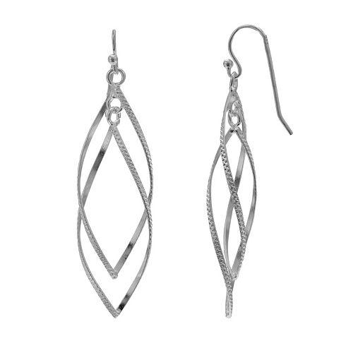 PRIMROSE Sterling Silver Double Leaf Drop Earrings