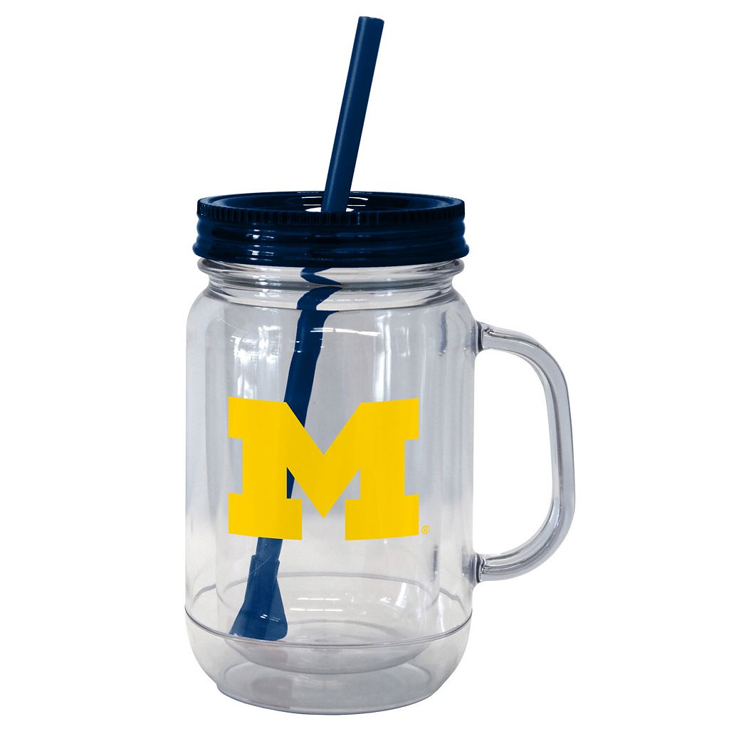 Boelter Brands Michigan Wolverines 20-Ounce Plastic Mason Jar Tumbler