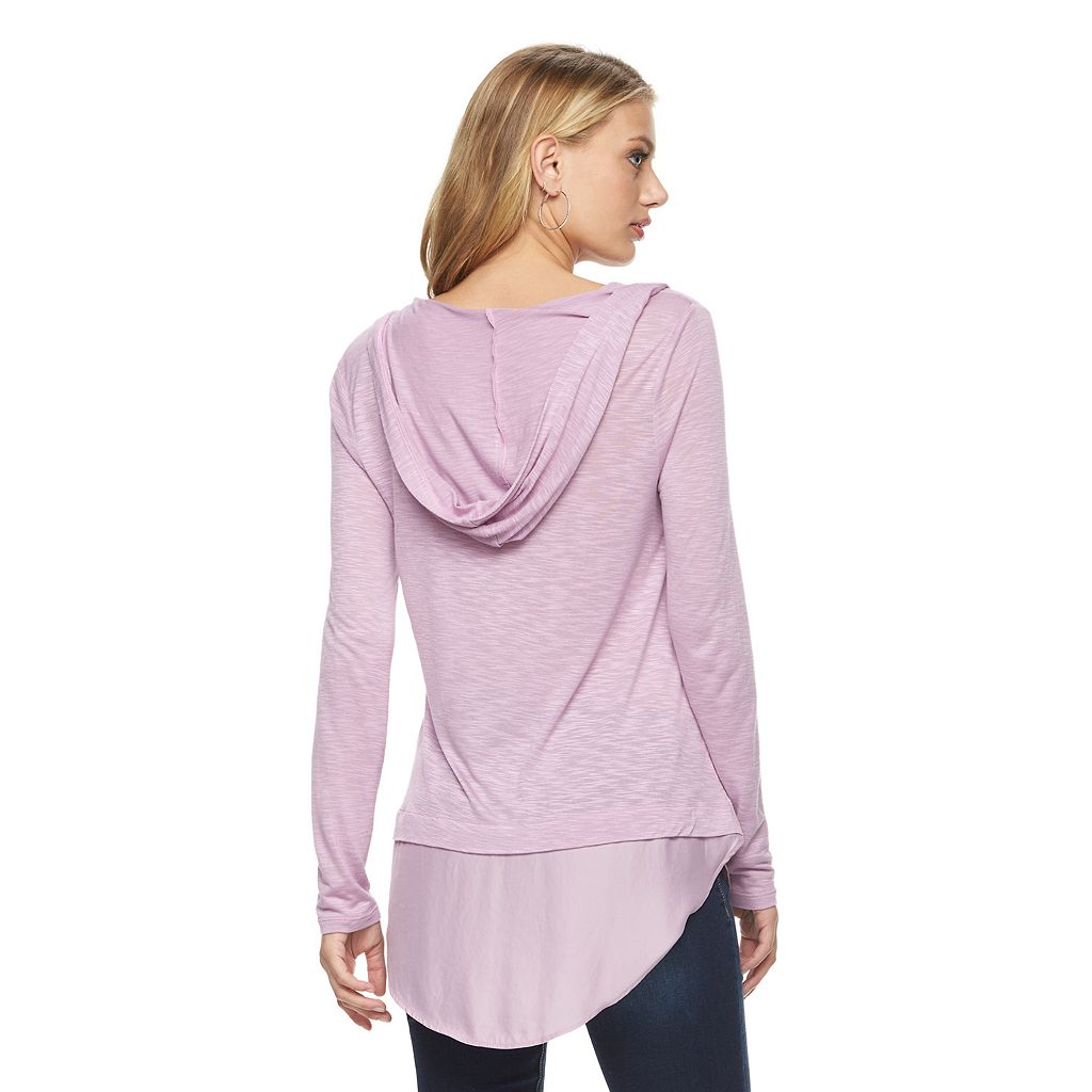 Women's Juicy Couture Hooded Mock-Layer Top