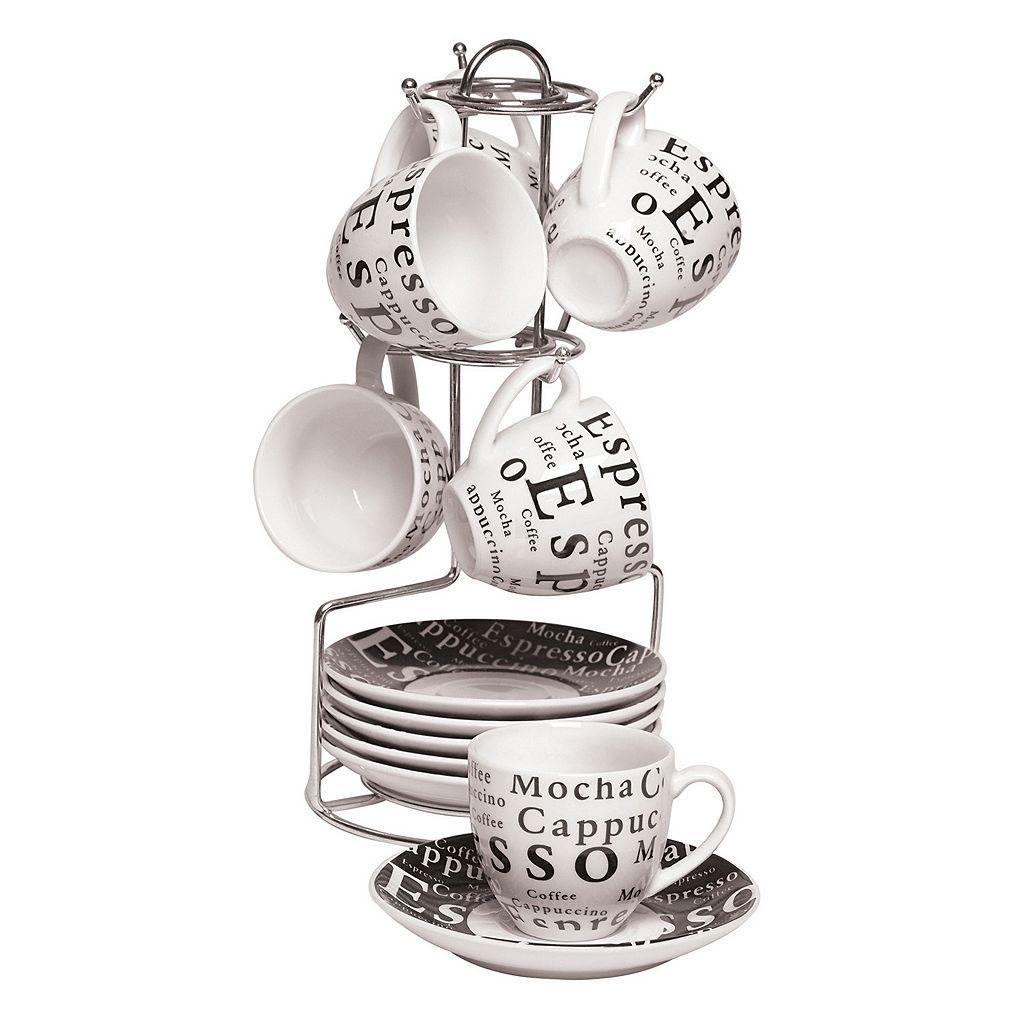 Gibson Home Espresso Expressions 13-pc. Espresso Coffee Mug Set with Caddy