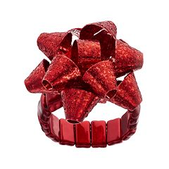 Holiday Bow Glitter Stretch Ring