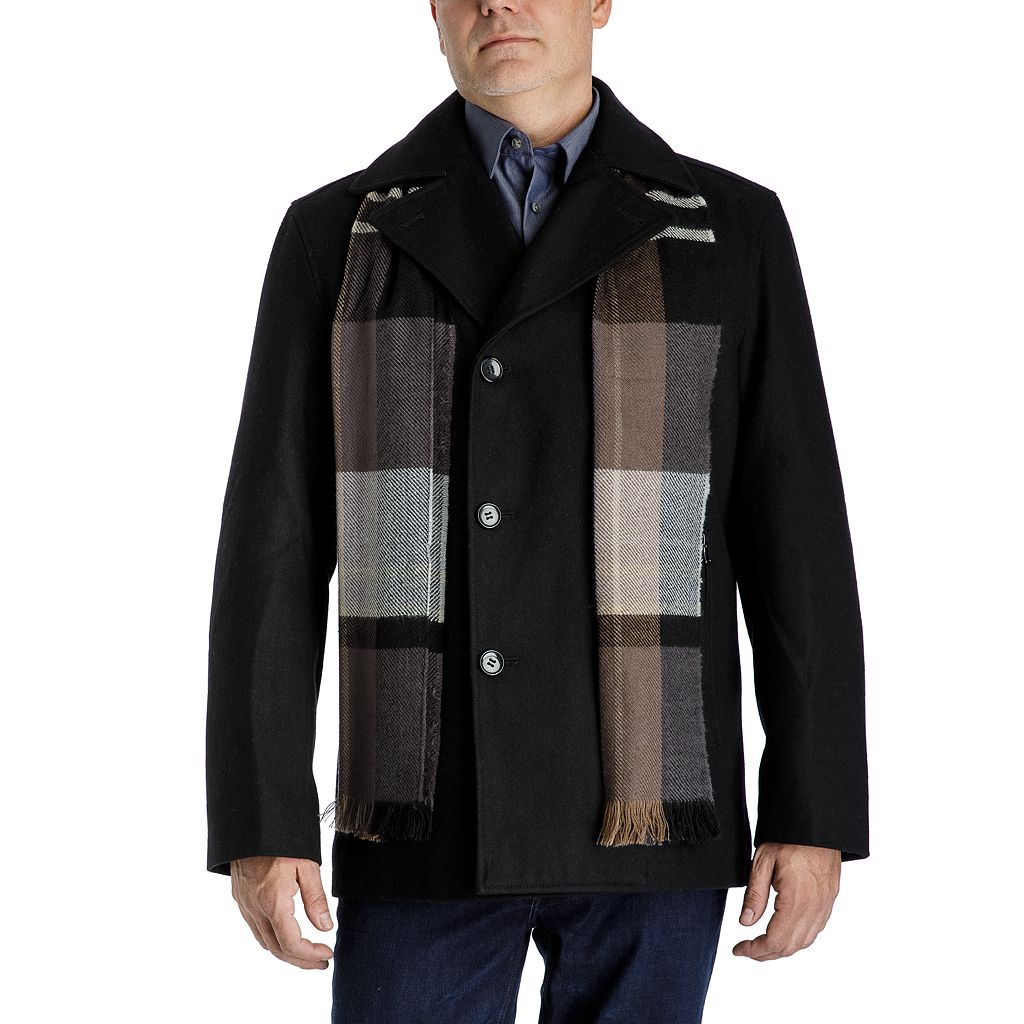 Men's Tower by London Fog Wool-Blend Double-Breasted Peacoat with Plaid Scarf