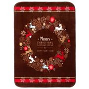 Hi Pile Luxury Oversize Christmas Wreath Throw