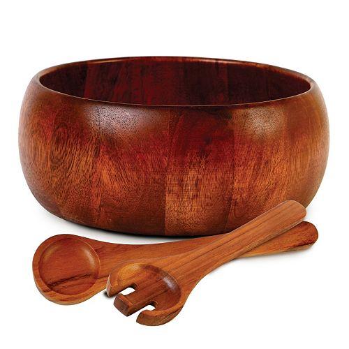 Gibson Home 3-pc. Acacia Wood Salad Bowl Server Set