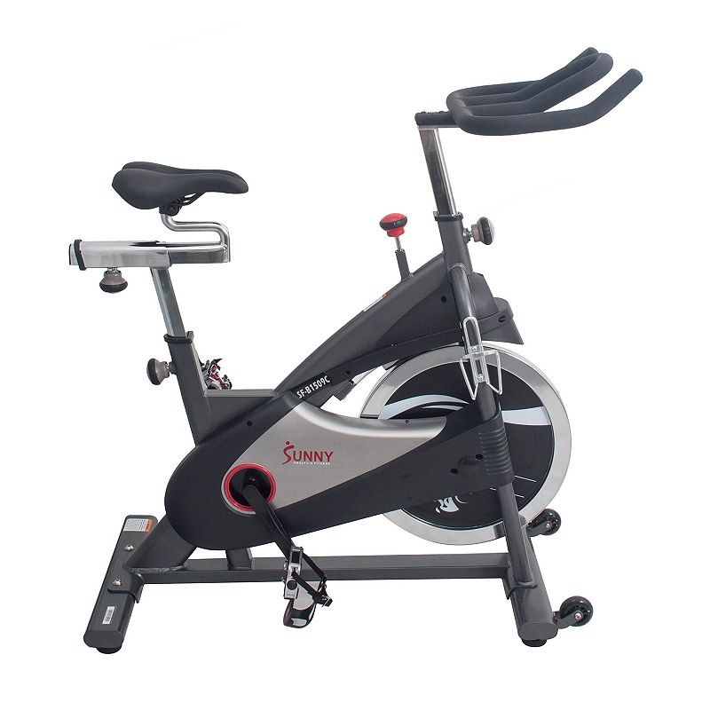 Sunny Health & Fitness Chain Drive Premium Indoor Cycling Bike (SF-B1509C), White Push your fitness goals into full gear with this Sunny Health & Fitness Chain Drive Performance Premium Indoor Cycling Bike. Watch the product video here. Quiet chain drive system Fully adjustable seat and handlebars for a comfortable ride Customize your resistance level for the perfect workout intensity Heavy duty steel crank and frame are built to withstand time and go the distance with users of all sizes and levels 48 H x 22 W x 50 D Weight: 105.5 lbs. Weight capacity: 300 lbs. Metal, plastic Parts: Manufacturer's 90-day limited warrantyFor warranty information please click here Frame: Manufacturer's 1-year limited warrantyFor warranty information please click here Model no. SF-B1509C Size: One Size. Color: White.