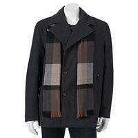Big & Tall Tower by London Fog Wool-Blend Double-Breasted Peacoat with Plaid Scarf