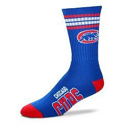 Men's For Bare Feet Chicago Cubs Deuce Striped Crew Socks