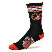 Men's For Bare Feet Baltimore Orioles Deuce Striped Crew Socks