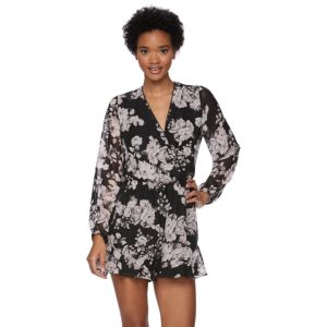 Juniors' Trixxi Floral Long Sleeve Romper